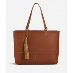 Praline Borsa Shopping in pelle granata Marrone