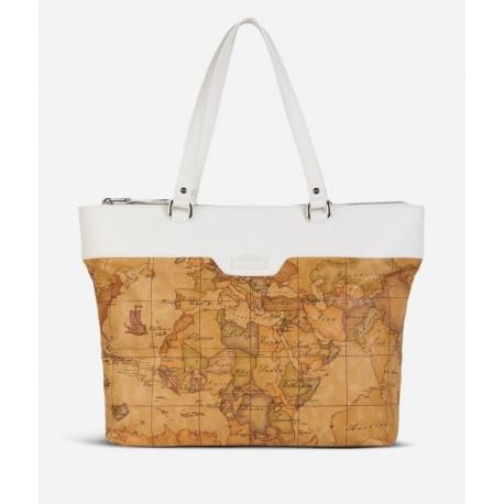 Donnavventura borsa shopping stampa Geo Classic Bianco